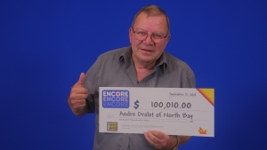 Andre Drolet of North Bay won $100,010 in lottery