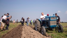 Ontario Premier Doug Ford sits atop a Ford tractor as he plows a furrow at the International Plowing Match in Pain Court Ontario, Tuesday, September 18, 2018. THE CANADIAN PRESS/ Geoff Robins