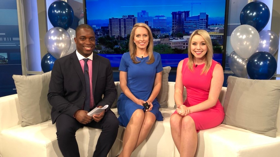 Stu, Rosie and Lyndsay in studio on the first anniversary of CTV News at Five.