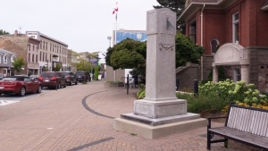 The monument to Dr. Solomon Secord is seen in Kincardine, Ont.