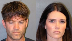 These undated booking photos provided by the Newport Beach, Calif., Police Department show Grant W. Robicheaux (left) and Cerissa Laura Riley.  (Newport Beach Police Department via AP)