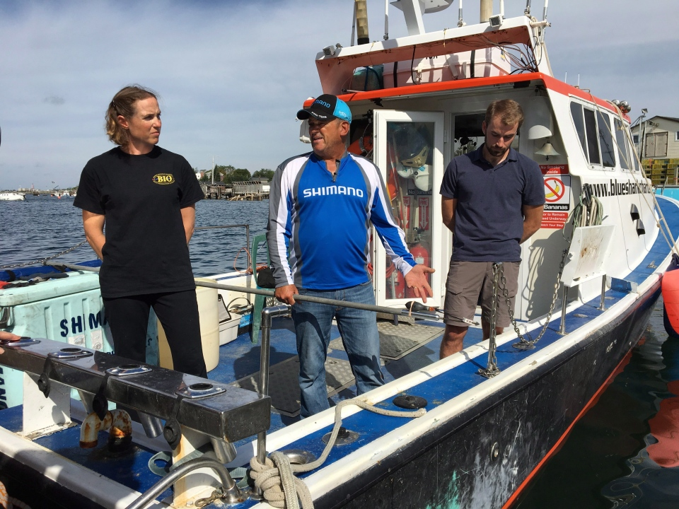 Dr. Heather Bowlby, left, researcher with the Bedford Institute of Oceanography, Art Gaetan, centre,, skipper of Blue Shark Charters, and Nathan Glenn, first mate of Blue Shark Charters, speak to media on a company boat in Eastern Passage, N.S., on Tuesday, Sept. 18, 2018. Federal fisheries officials say Heather Bowlby of the shark unit at Halifax's Bedford Institute of Oceanography tagged the shark off southwest Nova Scotia last week. THE CANADIAN PRESS/Aly Thomson