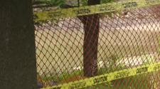 Cambridge pond blocked off
