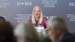Environment Minister Catherine McKenna delivers opening remarks as the G7 environment, oceans and energy ministers meet in Halifax on Sept. 19, 2018. (Andrew Vaughan / THE CANADIAN PRESS)