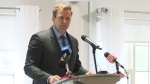 Liberal Leader Brian Gallant makes an announcement about post-secondary education spending during a campaign stop in Saint John on Sept. 19, 2018.