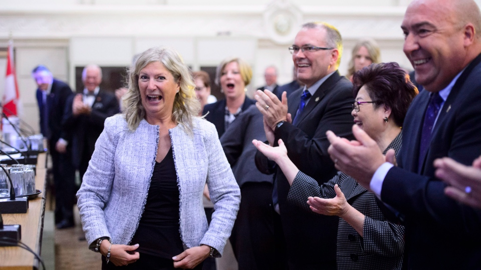 New Conservative MP Leona Alleslev is welcomed during the conservative caucus meeting on Parliament Hill in Ottawa on Wednesday, Sept. 19, 2018. THE CANADIAN PRESS/Sean Kilpatrick