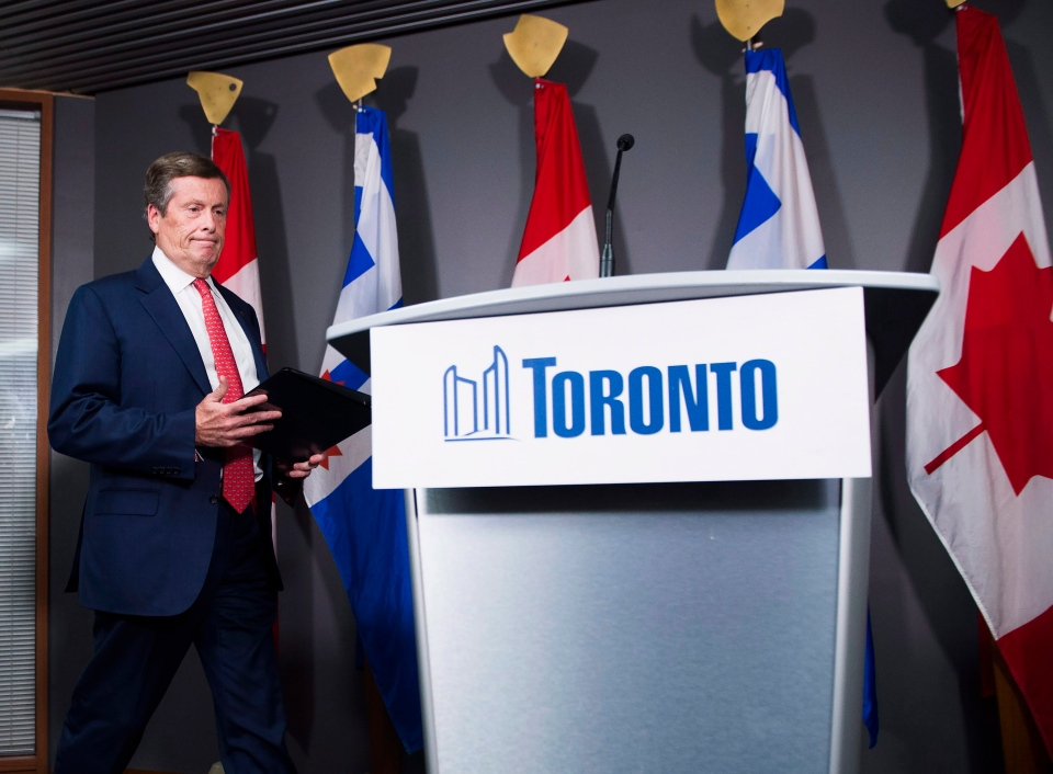 City of Toronto Mayor John Tory arrives at a press conference regarding the court's stay of an earlier court ruling, returning Toronto's election to a 25-ward race, in Toronto on Wednesday, Sept. 19, 2018. (THE CANADIAN PRESS/Nathan Denette)