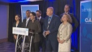 A handful of the CAQ's star candidates were on-hand at an announcement about prohibiting the use of cannabis in public places on Wednesday, while party leader Francois Legault opted to take the day to prepare for the third debate of the campaign, scheduled for Thursday. (CTV Montreal)