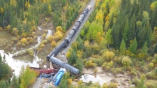 Images of the train derailment near Ponton, Man. (Source: Transportation Safety Board of Canada)