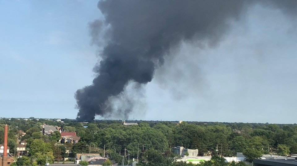 Smoke could be seen for miles after the fire at Gel Tech in Windsor, Ont., on Wednesday, Sept. 19, 2018. (Melanie Borrelli / CTV Windsor)