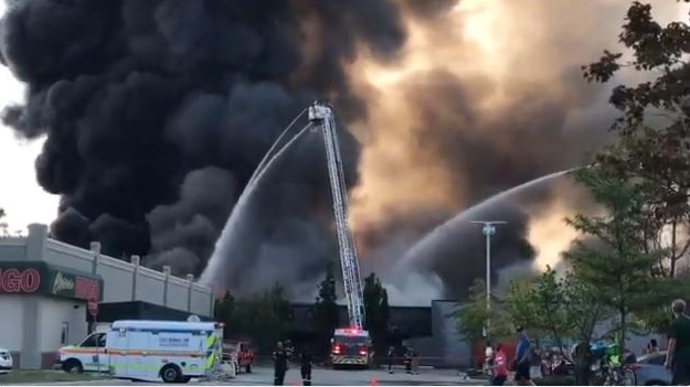 Windsor fire crews battle the blaze at Gel Tech in Windsor, Ont., on Wednesday, Sept. 19, 2018. (Angelo Aversa / CTV Windsor)
