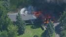 Aerial view as flames rip through a home in Caledon, Ont. on Wednesday, September 19, 2018. (CP24)