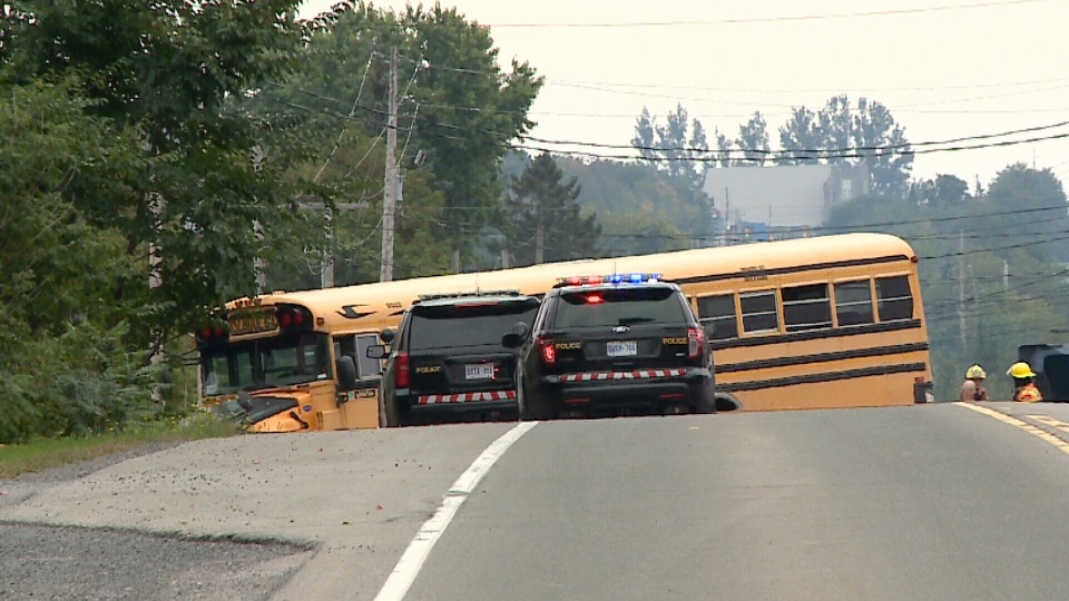 School bus that was rear-ended along Highway 34.