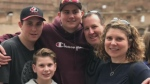 Steven Burns, Const. Sara Burns, and their three sons are shown in this family photo. Burns was killed in a shooting in Fredericton on Aug. 10, 2018. (Steven Burns)