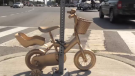 These golden bikes around the region represent a child with cancer no longer being able to ride.