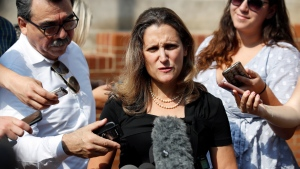Canadian Foreign Affairs Minister Chrystia Freeland speaks as she arrives at the Office of the United States Trade Representative, Wednesday, Sept. 19, 2018, in Washington. (AP Photo/Alex Brandon)