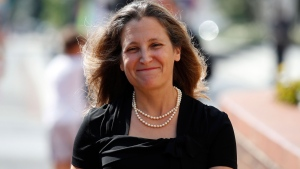 Canadian Foreign Affairs Minister Chrystia Freeland arrives at the Office of the United States Trade Representative, Wednesday, Sept. 19, 2018, in Washington. (AP Photo/Alex Brandon)