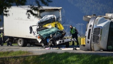 One person has died following a crash in Abbotsford, B.C. on Wednesday, Sept. 19, 2018. (Curtis Kreklau)