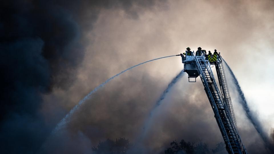 Windsor firefighters battle a blaze at Gel-Tech on Ottawa St. near Argyle Rd. in Windsor on September 19, 2018. ( photo courtesy of Sarah Smitherman )