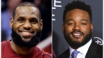 "This combination photo shows Cleveland Cavaliers forward LeBron James during an NBA basketball game against the Phoenix Suns in Phoenix on March 13, 2018, left, and filmmaker Ryan Coogler at the world premiere of ""A Wrinkle in Time"" in Los Angeles on Feb. 26, 2018. (AP Photo)"