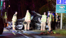 Emergency workers are shown at the scene of a fatal collision in Burlington on Thursday morning.