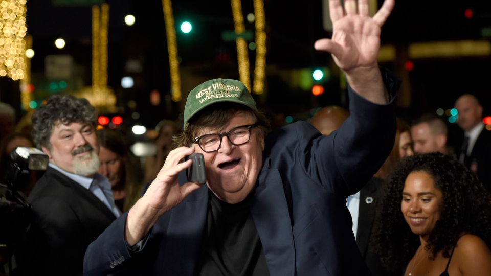 Michael Moore arrives at the premiere of 'Fahrenheit 11/9' at the Samuel Goldwyn Theater in Beverly Hills, Calif., on Sept. 19, 2018 (Chris Pizzello / Invision / AP)