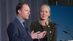 Canadian Environment Minister Catherine McKenna looks on as Niklas Kilberg, senior manager for sustainability at Volvo, addresses a news conference about the Circular Economy Leadership Coalition as the G7 environment, oceans and energy ministers meet in Halifax on Thursday, Sept. 20, 2018. The group, an alliance of corporate and NGO leaders, among others, hopes to develop solutions to protect and regenerate the enviroment while enhancing prosperity. THE CANADIAN PRESS/Andrew Vaughan