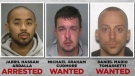 Jabril Abdalla Hassan, Michael Graham Cudmore and Daniel Mario Tomassetti are shown in a handout image from Hamilton Police.