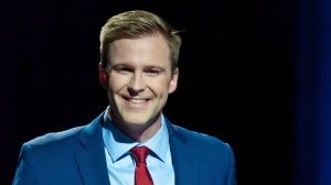 NB Premier and Liberal Leader Brian Gallant participates in the CBC provincial election Leaders' debate, in Riverview, N.B., on Wednesday, September 12, 2018. (THE CANADIAN PRESS/Marc Grandmaison)