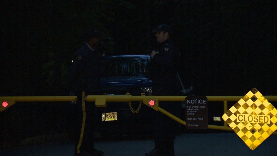 West Shore RCMP arrived at the park Wednesday night briefly blocking access and telling campers it would be closed indefinitely after 11 a.m. Thursday. Sept. 19, 2018. (CTV Vancouver Island)