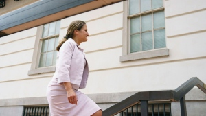 Foreign Affairs Minister Chrystia Freeland arrives at the Office Of The United States Trade Representative in Washington, Thursday, Sept. 20, 2018. (AP Photo/Carolyn Kaster)