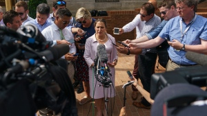 Canadian Foreign Affairs Minister Chrystia Freeland speaks to the media as she arrives at the Office Of The United States Trade Representative in Washington, Thursday, Sept. 20, 2018. (AP Photo/Carolyn Kaster)