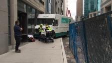 Stolen truck slams into Starbucks building