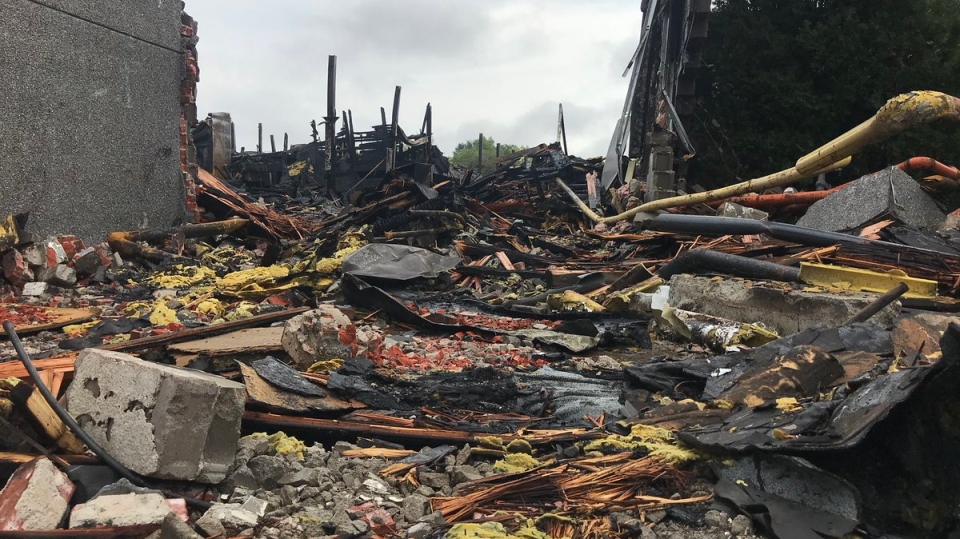 Here's what's left of an industrial building at 1370 Argyle Rd. after a massive fire in Windsor, Ont., Thursday, Sept. 20, 2018. (Rich Garton / CTV Windsor)