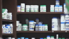 Drugs on the shelf at a pharmacy