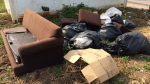 A mess of garbage is dumped in Bradford, Ont. as seen on Thursday, September 20, 2018. (CTV News/Rob Cooper)