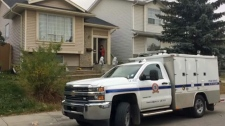 A Calgary Animal & Bylaw Services truck parked outside of a home in Martindale on Thursday afternoon after a child was injured by a dog