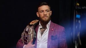 Conor McGregor arrives a news conference in New York, Thursday, Sept. 20, 2018. (AP Photo/Seth Wenig)
