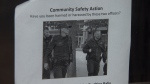 A poster soliciting complaints against two police officers is seen in Vancouver's Downtown Eastside in September 2018.