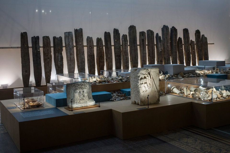 The Sept. 20, 2018 photo shows an archeological exhibition with pieces of the Roman-era displayed at the Martin-Gropius-Bau museum in Berlin. (AP Photo/Markus Schreiber)