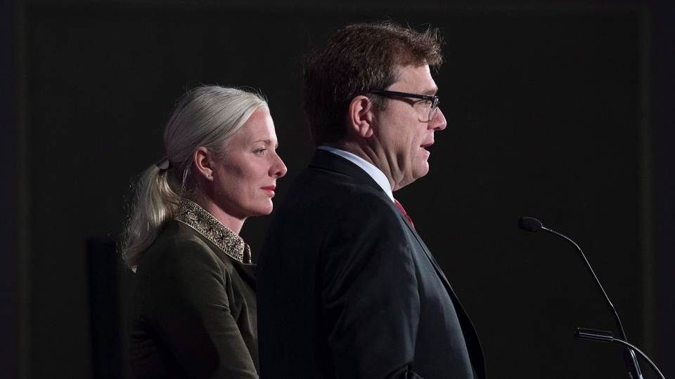 Canadian Environment Minister Catherine McKenna and Fisheries Minister Jonathan Wilkinson field questions at a news conference as the G7 environment, oceans and energy ministers meet in Halifax on Thursday, Sept. 20, 2018. THE CANADIAN PRESS/Andrew Vaughan