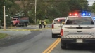 Police and emergency crews respond to a fatal collision in Fall River, N.S. on Sept. 20, 2018.