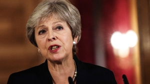 British Prime Minister Theresa May makes a statement on Brexit negotiations with the European Union, at 10 Downing Street, in London, Friday, Sept. 21, 2018. (Jack Taylor / Pool Photo via AP)
