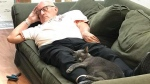 "Terry Lauerman, affectionately nicknamed, ""Cat Grandpa"" taking one of his naps after brushing one of the cats in a Wisconsin cat shelter. (Safe Haven Pet Sanctuary Inc.)"