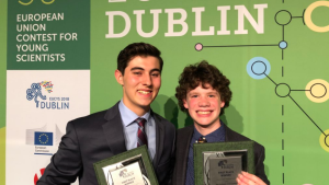 Canadians Brendon Matusch and Nicolas Fedrigo, win first place in the European Union Contest for Young Scientists.