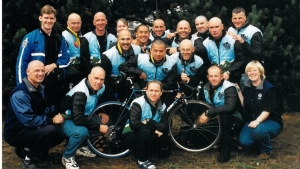 The first ever group of riders in the Cops for Cancer Tour De Rock is shown in 1998. (Submitted)