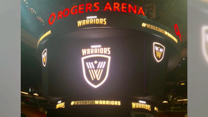 The new Warriors logo is seen at Rogers Arena during a news conference on Friday, Sept. 21, 2018. (Christina Heydanus / CTV Vancouver)