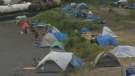 Tents are seen at the encampment on Nanaimo's downtown waterfront in this file photo. (CTV Vancouver Island)