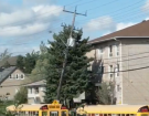 Hydro pole broken by strong winds in Sudbury