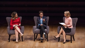 Minister of Foreign Affairs Chrystia Freeland, left, participates in an armchair discussion with journalist Masha Gessen, centre, moderated by Heather Reisman, CEO of Indigo Books & Music, at the Women in the World Summit in Toronto, Monday, September 10, 2018.THE CANADIAN PRESS/Galit Rodan